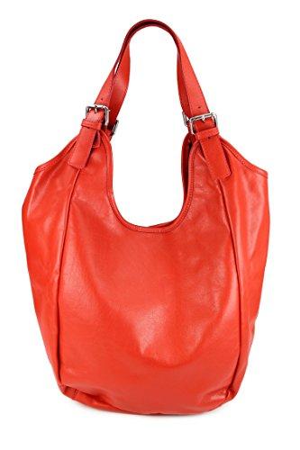 BELLI® XXL Nappaleder Shopper HoBo Beuteltasche rot - 36x34(mittig)x14 cm (B x H x T) (Bella Hobo)