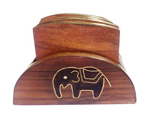 IndiaBigShop Raksha Bandhan Geschenk Holzuntersetzer Set von 6 in einem schwarzen Elefant Inlay-Halter mit Golden Border, eine große Geschenkidee für Ihre Liebsten Onese (Holz-inlay-kit)