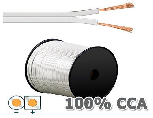 Manax Lautsprecherkabel Boxenkabel 2 x 0,75 mm² CCA weiß 50 m Rolle