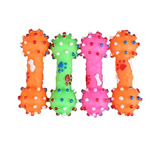 GUODOGUUP Spielzeug Für Haustiere Bunte Punkte Hundeknochen Spielzeug Hantel Geformt Hund Squeeze Squeak Faux Knochen Haustier Kauen Spielzeug Für Hunde -