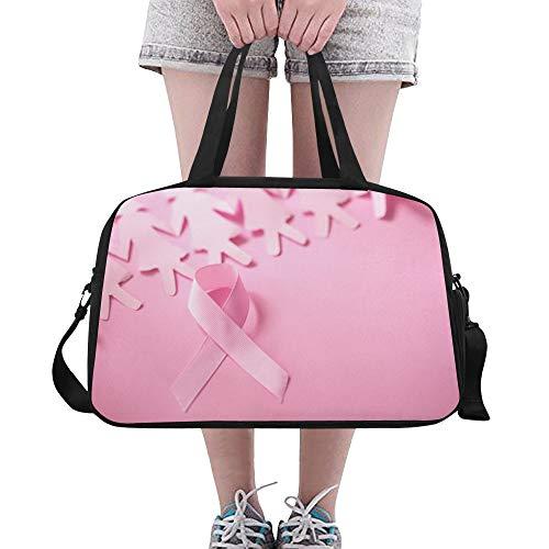 Yushg Pink Ribbon Breast Cancer Awareness große Yoga Gym Totes Fitness Handtaschen Reise Seesäcke mit Schultergurt Schuhbeutel für die Übung Sport Gepäck für Mädchen Frauen Frauen Outdoor -