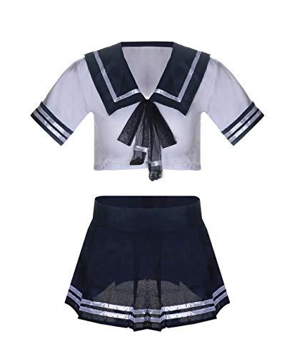Kadila Schulmädchen Kostüm Sexy Damen Rollenspiel Kostüm Dessous Plaid Falten Minirock, weißes Oberteil & Krawattenuniform mit Strümpfen