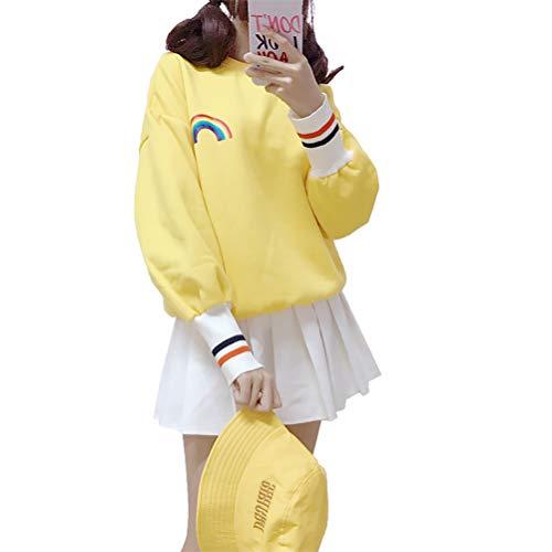 YUFAA Frauen Lose Einfache Regenbogen Gestreifter Print Langarm Rundhals Pullover Sweatshirt Tops Strickpullis (Color : Gelb, Size : OneSize) -