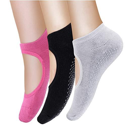 Vaxuia Yoga Socken für Pilates, Ballett und Stange, 3 Paar Baumwollsocken, Einheitsgröße 36-43, grau, Rose-rot, schwarz, EU36-43