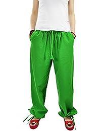 Aivtalk - Femme Pantalons Sarouel Yoga en Lin - Pantalons Jambes Larges Ceinture Élastique - Pantalons Simple National Vent