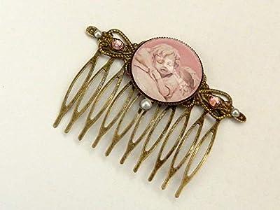 Peigne à cheveux avec motif ange en bronze rose