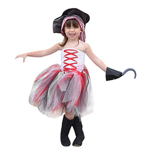 Partei Geburtstag Kostüm Piraten - Mädchen Tulle Kleider Halloween Kostüm Piebo Kinder Hexe Pirat Cosplay Party Fancy Fantasie Festkleid Geburtstag Verrücktes Dress Up Outfit Hochzeit Prinzessin Kleid Ärmelloses Vampirkostüm