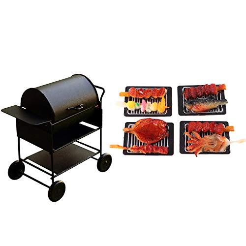 Baoblaze Miniatur Barbecue BBQ Grillwagen mit Lebensmittel Modell für 1/12 Puppenhaus Outdoor Garten Dekoration