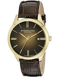 Stuhrling Original 490.3335K31 - Reloj de cuarzo, para hombre, con correa de cuero, dorado con correa marrón