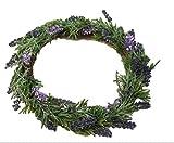 Flora F Blumenkranz Türkranz Kranz Lavendel Lila grün Ø 30 cm Blumen Blütenkranz Zum hängen toller Hingucker für Das Ganze Jahr Dekokranz