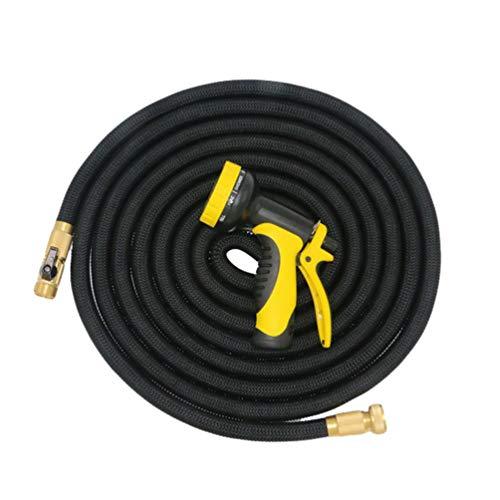 Dooxii Autowaschanlage Wasserpistole Teleskopschlauch Flexibler Wasserschlauch Magic Stretch Gartenschlauch (Schwarz#4, 30m)