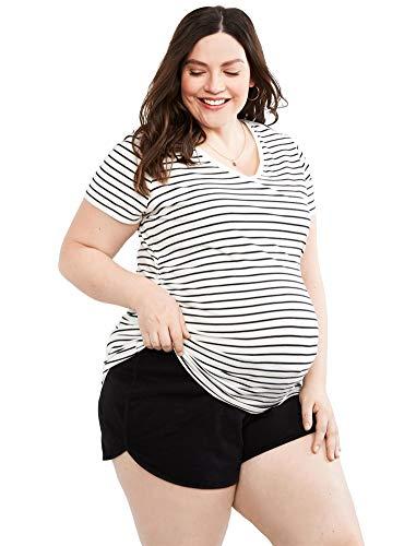 French Terry Logo Short (Motherhood Maternity Damen Plus-Size French Terry Underbelly Shorts, schwarz, 1X)