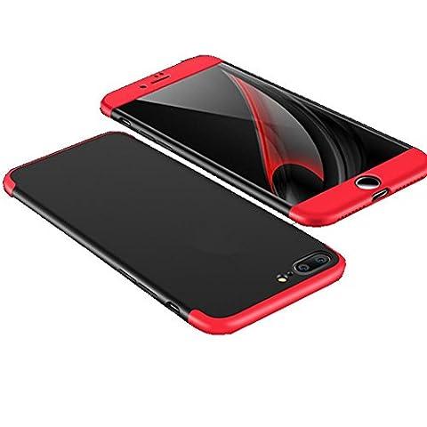 iphone 7/7plus Coque Pacyer® Protection Souple PC 3 en 1 Full Cover 360 Housse Integrale Bumper Etui Case Accessoires Ultra Fin Et Discret (iphone 7 plus, Noir+Rouge)