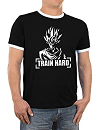 Goku Train Hard Herren Kontrast T-Shirt