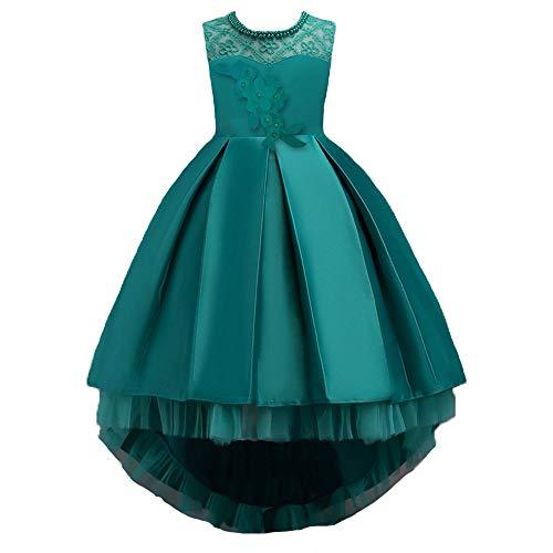 Mädchen Kleid Rock ❤️SHOBDW Blume Kinder Mädchen Kleid Prinzessin Formale Festzug Urlaub Hochzeit Brautjungfer Kleid für Fasching (140/ 7Jahr, Y-Grün)