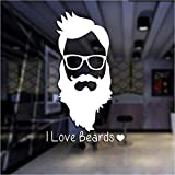Hwhz 35X58 cm Man Beard Barber Shop Sticker Name Chop Bread Decal Haircut Posters Vinyl Wall Art Decals Decor A