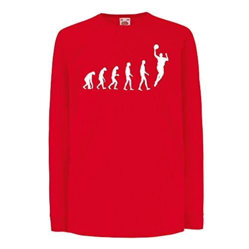 lepni.me Kinder-T-Shirt mit Langen Ärmeln Evolution Basketball - Street Basket, Ich Liebe Dieses Spiel, Tolles Fan-Geschenk (3-4 Years Rot - Halloween Basketball-mädchen
