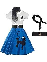 beautyjourney Vestido de cóctel Rockabilly Swing Vintage para Mujer Vestido de Fiesta Festivo de Cuello Redondo de Manga Corta Vestido de Noche Elegante Vestido Skater con Bufanda y cinturón
