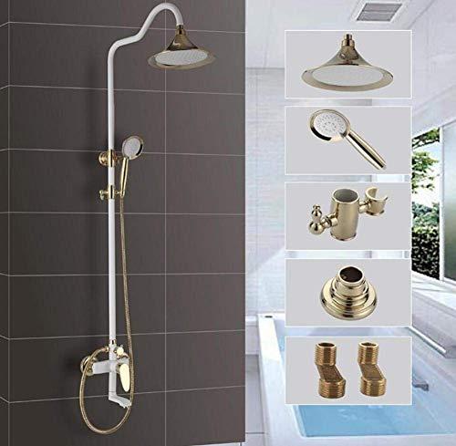 GZZ Duschsätze mit Regenfall Duschkopf und Handgerät Wandmontierte Duschkombination Weiß Farbe Kupfer Luxus Regenmischer Duschkombination Wandbefestigte Ganzkörperabdeckung