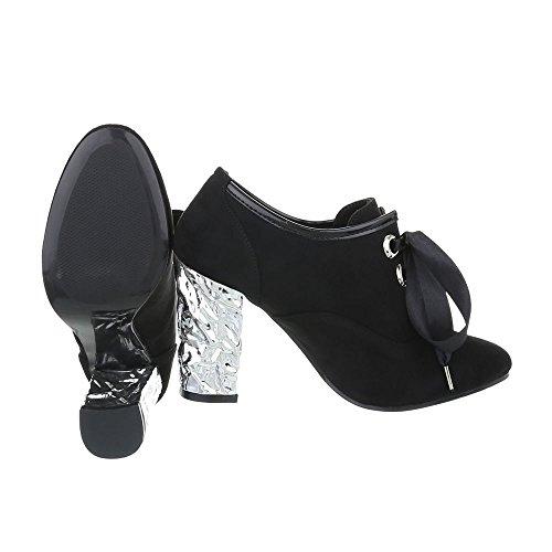 Ital-Design Ankle Boots Damenschuhe Ankle Boots Pump High Heels Schnürsenkel Stiefeletten Schwarz