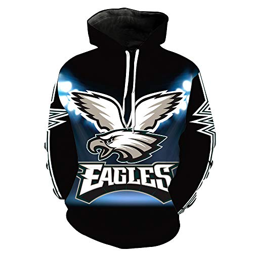 ZXTXGG Männer 3D Hoodies Philadelphia Eagles NFL Fußballuniform Muster Digitaldruck Kapuzenpullis Liebhaber Kapuzenpullis(L,Schwarz) Eagle Herren Hoodie