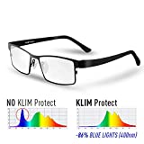 KLIM Protect - Lunette Anti Lumiere Bleue - Génération de Verres Transparent - Protège Vos Yeux de la Lumière Bleue - Lunettes Filtre Anti Fatigue Anti UV - Gaming Écrans PC Mobile TV Téléphone