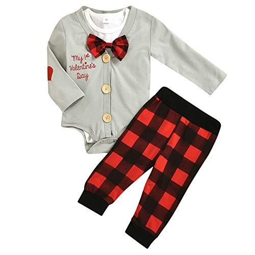 Chennie 3 Teile/Satz Baby Kleinkind Junge Valentinstag Kleidung Anzug Strampler + Mantel + Hosen