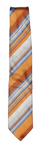 Commander Herren Krawatte Seidenkrawatte Schlips Streifen Bronce Blau Grau (Grau Blau Seidenkrawatten)