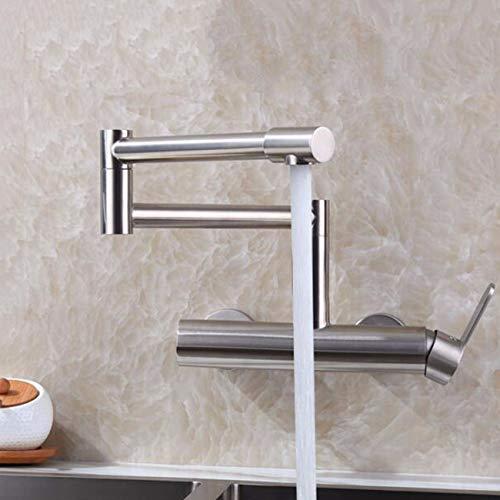 HomeLava Faltbar Spültischarmatur Einhebelmischer Küche Wandmontage Armatur Edelstahl Küchenarmatur Matt
