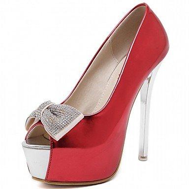 LvYuan Damen-Sandalen-Büro Kleid Party & Festivität-Kunstleder-Stöckelabsatz-Komfort-Schwarz Rot Weiß White