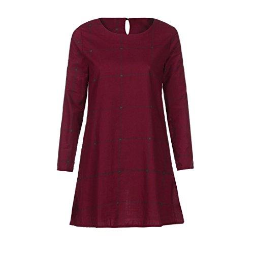 1950er Jahre Womens Kleidung (OverDose Frauen langes Hülsen Karo kariertes kurzes Kleid Vintage Casual loses Basic Kleid Blusenkleid(A-Wine ,EU-38/CN-L ))