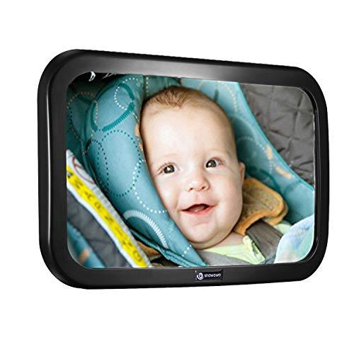 Rücksitzspiegel für Babys 360° Schwenkbar Autospiegel Baby Bruchsicherer Babyschalenspiegel Universale Form Rückspiegel für Kinderbeobachtung Rücksitz Kinderschale Babysitz SNAWOWO