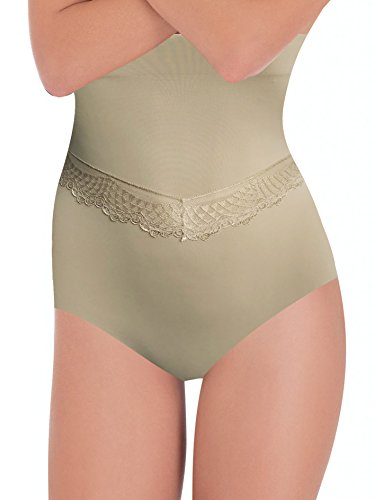 Lady bella g3118 - guaina contenitiva modellante donna a vita alta, con eleganti inserti in pizzo, pancera snellente su fianchi addome per una pancia piatta (nero, m/l)