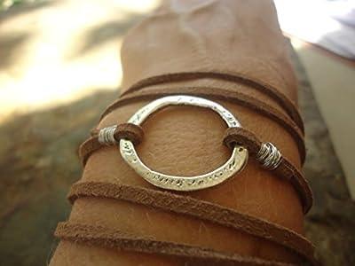 ? HAMMERED RING & SUEDE ? Wrap Bracelet