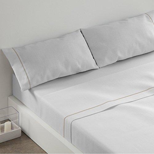Burrito Blanco Juego de Sábanas 3 piezas (Encimera, 1 Funda de Almohada y Sábana Bajera Ajustable) para Cama Individual de 105x190 cm hasta 105x200 cm, Blanco