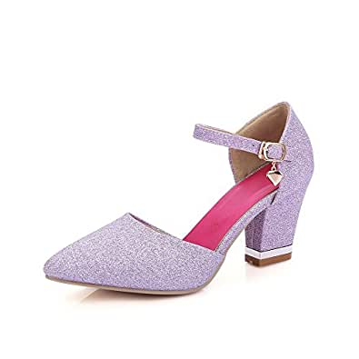 AllhqFashion Women's Buckle Blend Materials Pointed Closed Toe High Heels Solid Pumps Shoes, Purple, 40