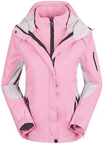 ZSJZHP Damen Bergwasserdichte Ski-Jacke, Windundurchlässig Regen Jacke Schnee- Winterkleidung Mantel für Snowboard Damen Warm Anoraks,Pink-S