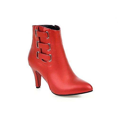Blend Stiefel Niedrig Damen Spitze Schlie脽en Materialien Hoher Spitze Absatz Rot Zehe VogueZone009 6zXqwRH