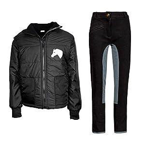 MS-Trachten Kinder Reitset Reithose schwarz grau mit Reitjacke Mia schwarz gesteppt Fleecefutter