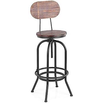 Ikayaa tabouret de bar en pin et m tal style industriel - Tabouret cuisine reglable hauteur ...