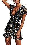 Ajpguot Vestido de Verano Mujer Impresión Mini Vestidos de Playa V-Cuello Manga Corta Vestido con Cinturón Sundress Elegante Corto Dress de Partido Fiesta (S, 101030 Negro)