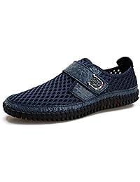 De los hombres Hueco Zapatos casuales Antideslizante Conveniente Velcro Zapatillas Acogedor Respirable Mocasines Manga Zapatos de