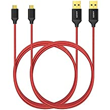 Anker Cable USB 1.8 m de Nylon Entrelazado Libre de Enredos (con Clavija Bañada en Oro; para Android, Samsung, HTC, Nokia, Sony, BQ, Xiaomi y más)