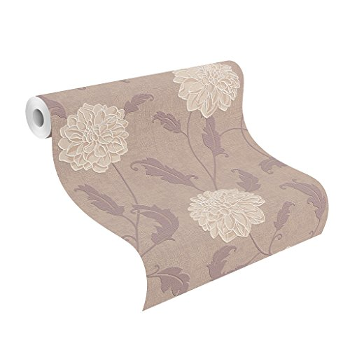 rasch 886825 Vlies Blumen, florale Struktur-Tapete, beige, taupe, braun, Plaisir IV, Lila,Elfenbein