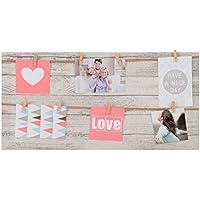 Dcasa - Marco multifoto de pared lienzo Love 8 pinzas 30x60 cm