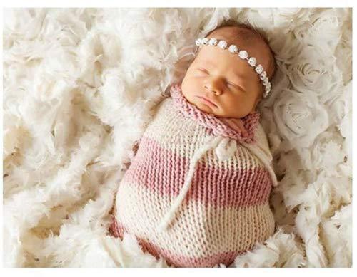 Matissa Baby Kleinkind Neugeborenen Hand gestrickt häkeln Strickmütze Hut Kostüm Baby Fotografie Requisiten Props (Kokon Baby Stripy Pink)