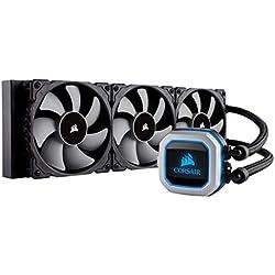 Corsair Hydro Series H150i Pro - Refrigerador líquido de CPU , Radiador de 360 mm, tres ventiladores PWM de 120 mm Serie ML, Iluminación RGB, compatible con Intel 115x / 2066 y AMD AM4, negro