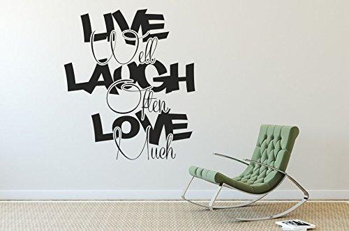 Wandtattoo-bilder® Wandtattoo Live Well, Laugh Often, Love Much Nr 1 Wanddeko Wohnideen Wohnzimmer Flur Größe 60x69, Farbe Kupfer Live-kundenservice
