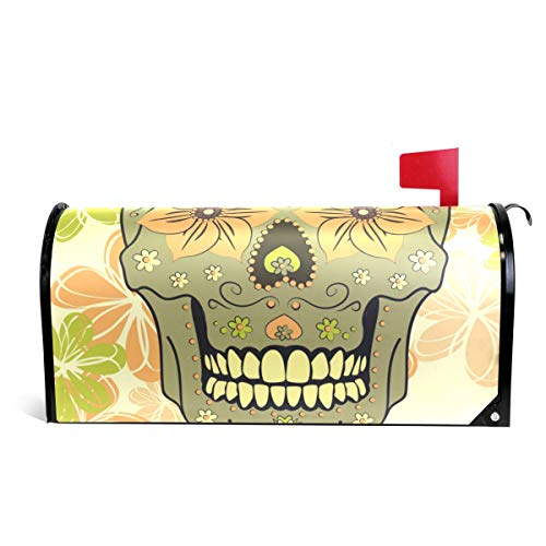Colorful Skull magnetisch Mailbox Cover Standard size-18x 52,8cm 25.5x20.8 inch Oversized Multi