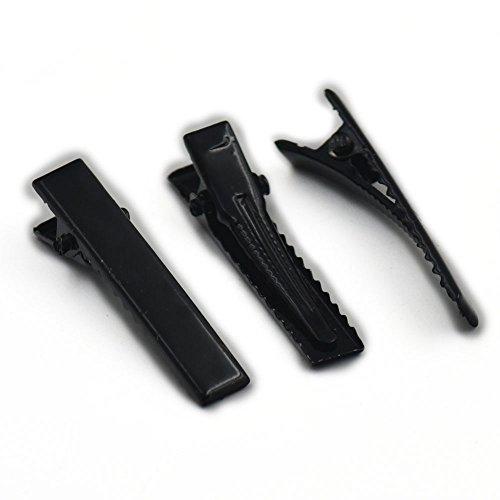 100PCS 35mm 3,5cm quadratisch Haar Clips Alligator Zähne Clip Zinken Damen Haarspange Haar Bögen 2Farbe wahl, metall, Gun Black, 35MM 1.38